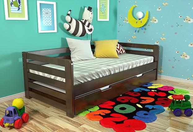 Дитяче ліжко Немо з висувною шуфляжою темний горіх, ARBOR DREV
