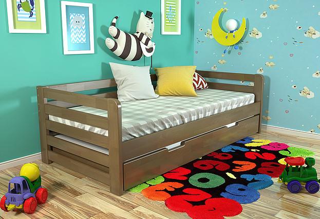 Дитяче ліжко Немо з висувною шуфляжою горіх, ARBOR DREV
