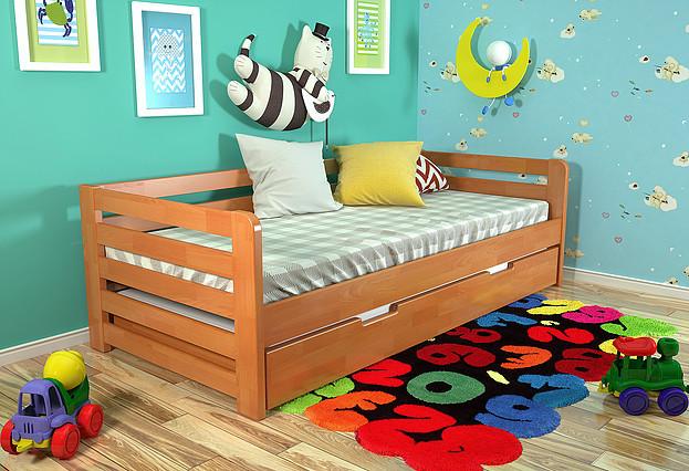 Дитяче ліжко Немо з висувною шуфляжою вільха, ARBOR DREV