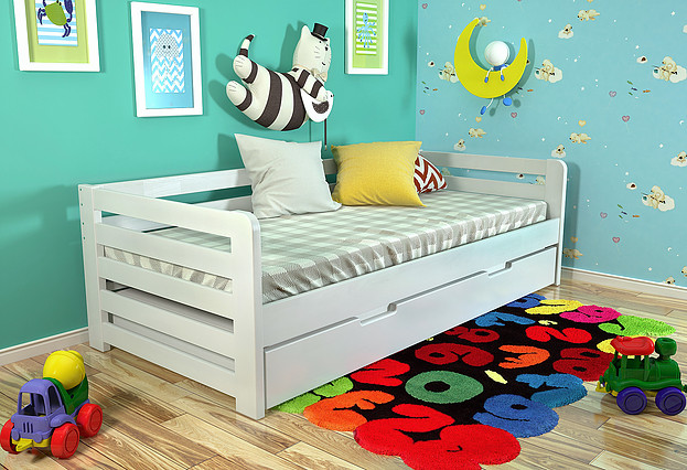 Дитяче ліжко Немо з висувною шуфляжою білий, ARBOR DREV