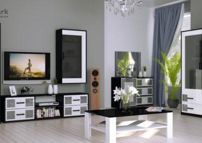 Вітальня в стилі модерн Viola Глянець білий – чорний мат