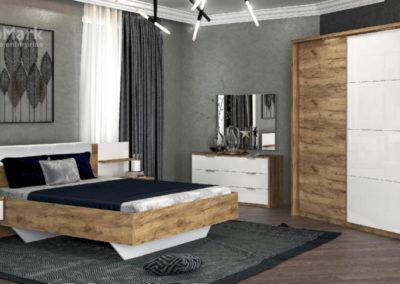 Спальня модерн, Asti (Дуб крафт-глянець білий)
