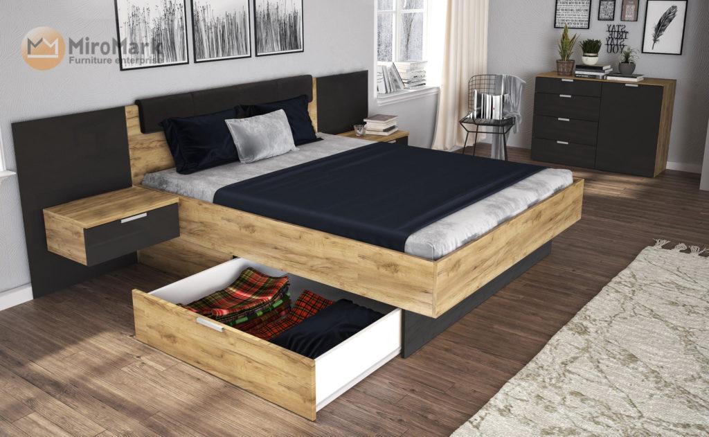 Спальня модерн Luna (Дуб крафт-земля), Львів, купити меблі виробника MiroMark